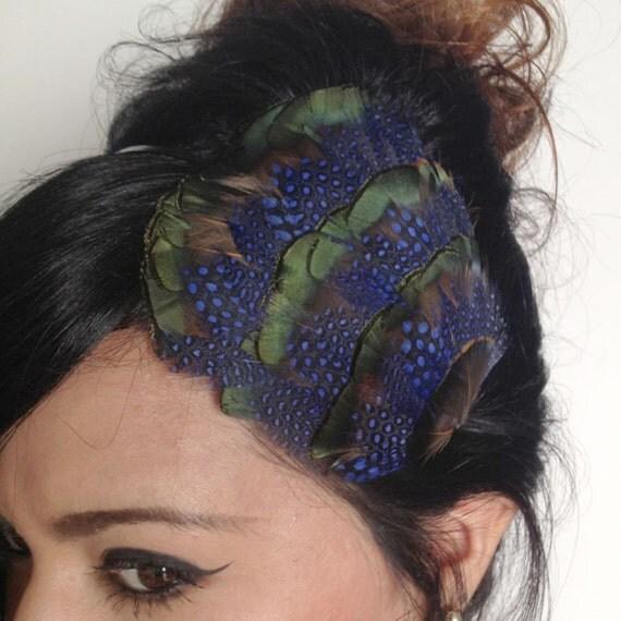 feather headband - feather fascinator - navy blue feather headband or hair clip - hair accessories for women - women's gift - WILHELMINA