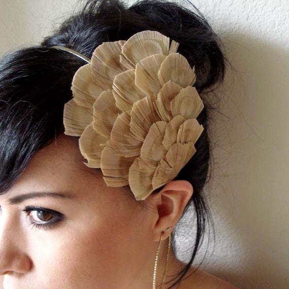 Mia Bleached Eye Peacock Feather Headband
