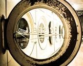 Grunge Laundromat Washer - 10 X 10 Square Photo Print - Washer Dryer Home Decor Vintage Crackled Black Yellow