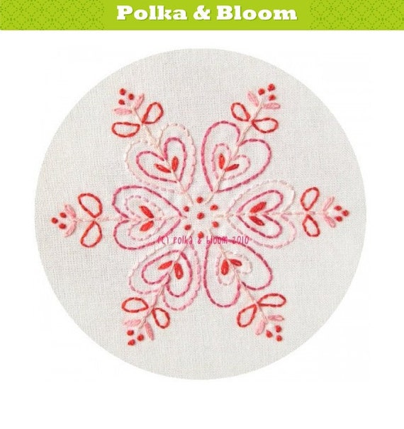 Embroidery Pattern Pink Snowflake Christmas Winter PDF