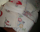 Stack of Vintage Linens-Embroidery, Crochet-Great for crafts and cutting