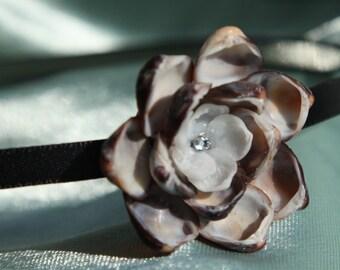 Black - Brown Ark Shell with White SHELLFLOWER Headband