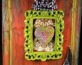 Home Decor Mixed Media Heart  Decoration Painting Valentine Gift