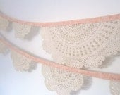 Peach Doily Bunting - Made to Order