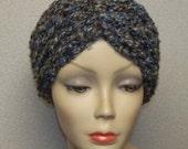 LadyMelisse Beautiful Turban Headband Earwarmer in Chunky Landscape Blues and Browns