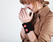 Black Wool with Red Glittery  Button On Wristwarmer Wrist Warmer Cuff Bracelet