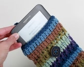 Chunky Olive Purple Navy Multi Wool Kindle eReader Nook Cover Case with Fabulous Blue Vintage Button