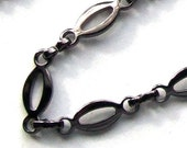 Gun Metal Silver Plated Oval Chain- 3 feet