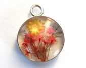 Red and Yellow Flowers Resin Pendant