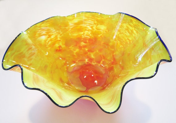 Blown Glass Bowl - Large - bright colors