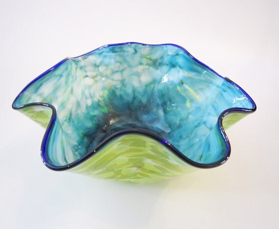 large candy bowl - teal, chartreuse, cobalt and white blown glass