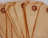 15 Medium Tea Stained Manilla Shipping Tags -- 3 3/4 x 1 7/8 -- Ready to Ship