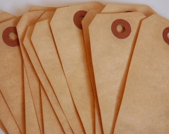 25 Medium Tea Stained Manilla Shipping Tags 3 3/4 x 1 7/8 -- Ready to Ship