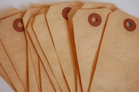 15 Medium Tea Stained Manilla Shipping Tags 3 3/4 x 1 7/8