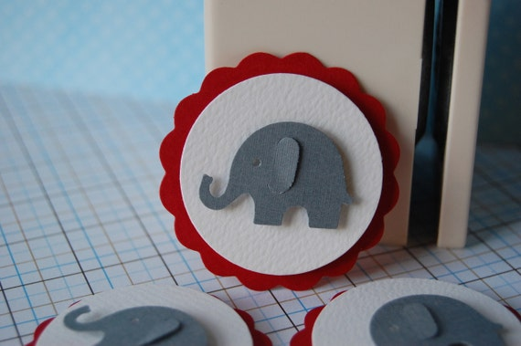 Grey and Red Elephant Embellishment Cupcake Topper -- Set of 3