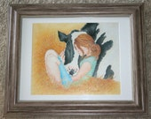Compassion, Framed Wall Art, Nature, Cows, Farm Animals