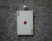 Vintage Style Playing Card Ace of Diamonds Pendant Gift Birthday Grad Silver
