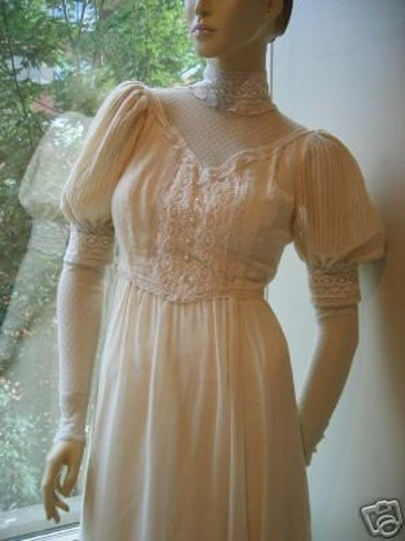 Vintage Gunne Sax Puff Slv Victorian Lace Maxi Boho Dress S