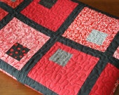 All Squared Up Lap or Child Quilt, Red, Black and White Cotton