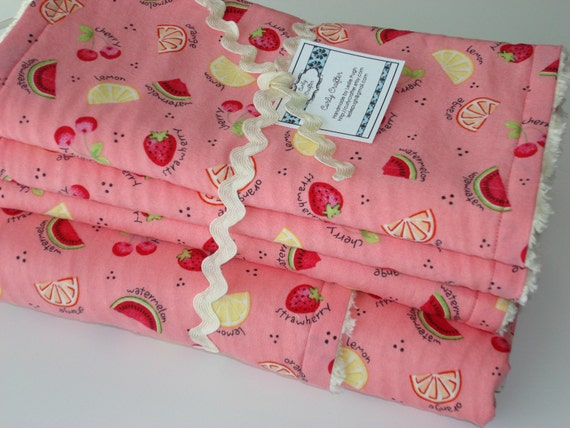 Pink Fruity Blanket And Burp Cloth Gift Set - RESERVED for allthingspurple