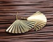 Art Deco Gold Fan Earrings
