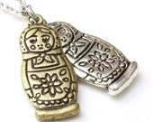 Twin Russian Dolls - Antique Silver and Brass Matryoshka Necklace
