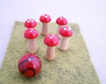 Mini-Mushroom Bowling Game - aka Fairy Ring Bowling - Bowling Pins, Ball & Lane Set