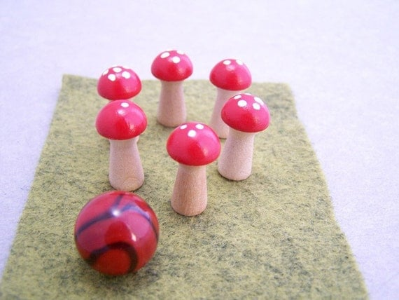 Mini-Mushroom Bowling Game - aka Fairy Ring Bowling - Bowling Pins, Ball & Lane Set