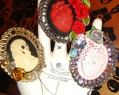 horror cameos skeleton woman or anatomical human heart cameo cocktail rings