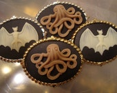 terror is a tiny octopus cameo pendant/brooch choose silver or gold SUPER SALE
