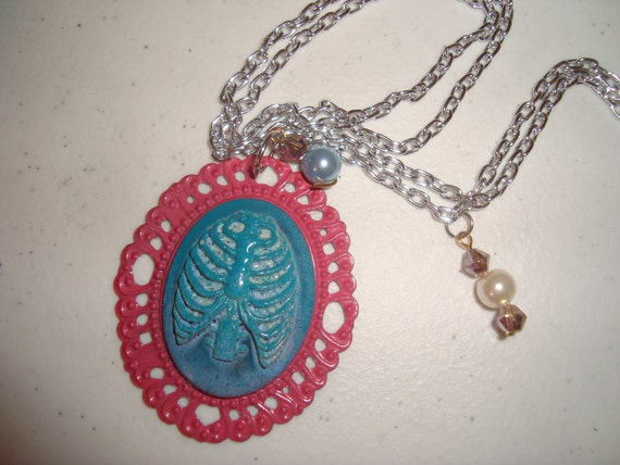 zombie rib cage cameo necklace w crystal beads SUPER SALE