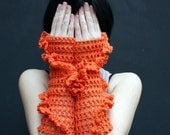 Hand crochet fingerless gloves - arm warmers - orange - neon black friday etsy - KnitAndWedding