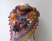 Multicolor -  Hand crochet mohair shawl with flower design  - wedding bridal bridesmaid - ready to ship