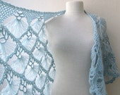 Hand crochet triangle lace shawl wrap in light BLUE Holiday Valentine Wedding Bride Bridesmaid - ready to ship - baby blue