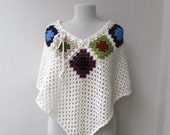 Crochet ivory poncho with granny square motifs-valentines day-gift guide-fall winter fashion