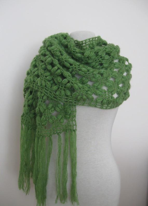 Fall Fashion - Hand crochet rectangle shawl mohair yarn green