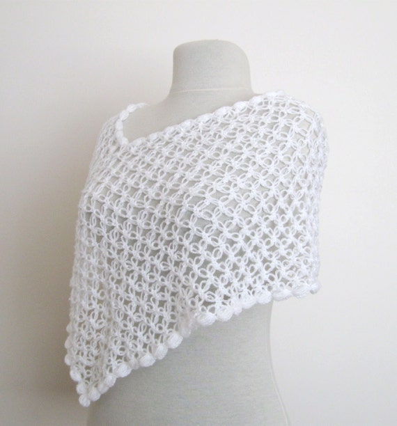 White poncho honeycomb shrug wrap stole / wedding bridal bridesmaid fashion accessories  party