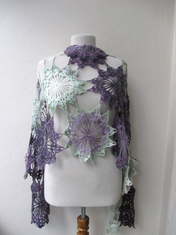 Items Similar To Hand Crochet Rectangle Lace Shawl Stole
