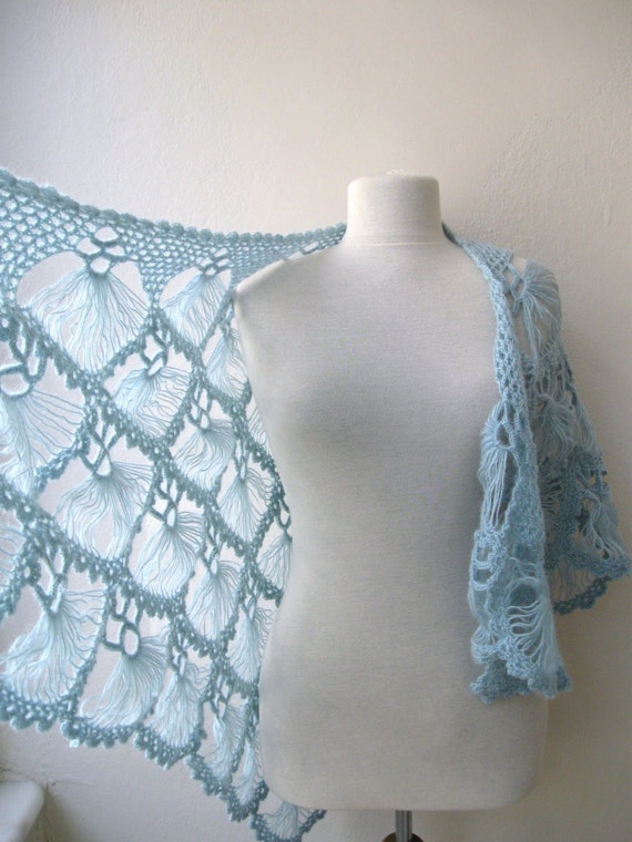 Crochet Lace Wedding Shawl Pattern : Hand crochet triangle lace shawl wrap in light by ...