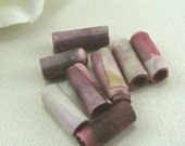 Purple Batik Fabric Beads (8)