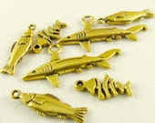 Brass Fish Charms (7)  Assorted