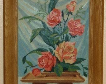 SALE 15 Percent Off ... retro PAINT by Number Floral ARRANGEMENT ... vintage wall art