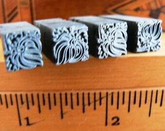vintage letterpress ... PRINTERS TYPEFACE small decorative DINGBATS Grp A 30 4 pce
