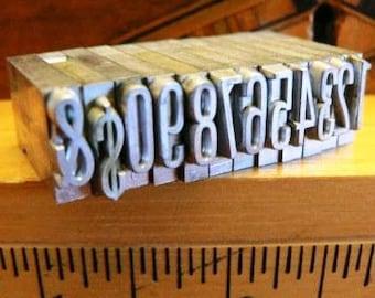vintage letterpress ... PRINTERS TYPEFACE NUMERIC 0 to 9 plus 2 Grp M 12 pce