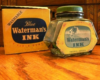 vintage office ...WATERMANS tropic green Ink Bottle with Box ..