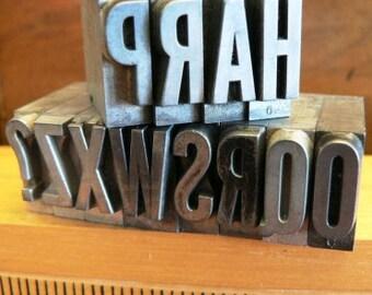vintage letterpress ... PRINTERS TYPEFACE  misc alpha FUN Grp A4 12 pce