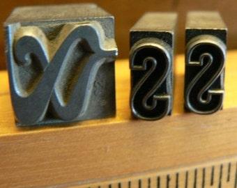 vintage letterpress ... Large PRINTERS TYPEFACE decorative type Grp A 11   3pce