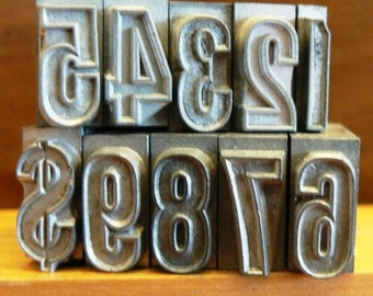 vintage letterpress ... PRINTERS TYPEFACE NUMERIC 1 to 9 plus 1 Grp A 16 10 pce
