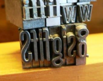 vintage letterpress ... PRINTERS TYPEFACE  misc FUN Alpha Grp A 25  17pce