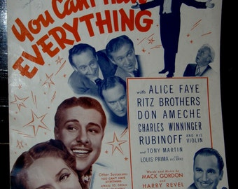 vintage sheet music ... YOU CANT HAVE EVERYTHING ...